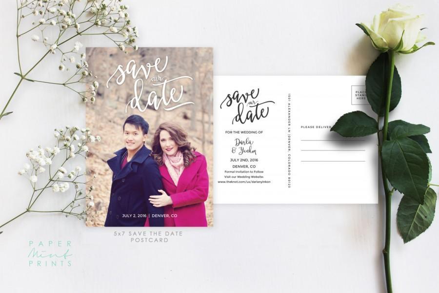 زفاف - Save the Date Announcement, Save the Date, Invitation, Postcard, One Photo, Simple, Script, DIY, Printable