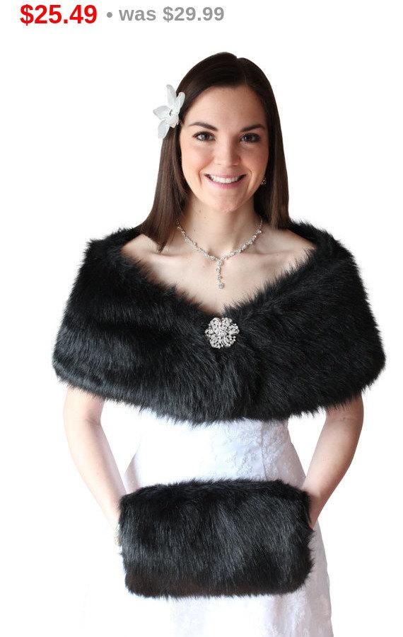 Mother Day Bridal Shrug Black Faux Fur Wrap Stole Wedding Shawl Cape