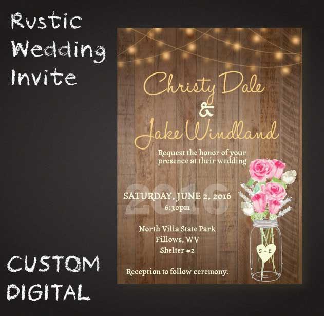 Rustic Mason Jar Wedding Invite Wooden Lights Roses Digital