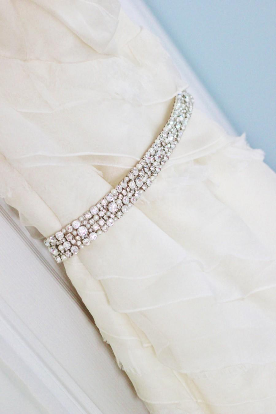 Свадьба - Classic Bridal Rhinestone And Pearl Wedding Gown Sash Belt Silver or Gold Prongs