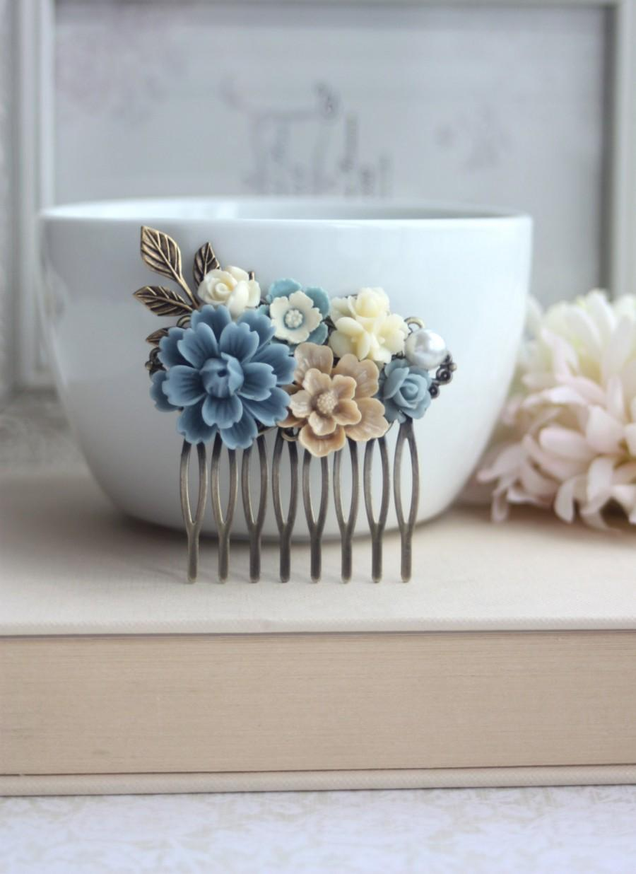 Hochzeit - Dusty Blue Flower, Brown Sakura, Ivory Bouquet, Pearl, Shabby Flower Collage Hair Comb. Bridesmaids Hair comb, Bride Wedding Comb. Country