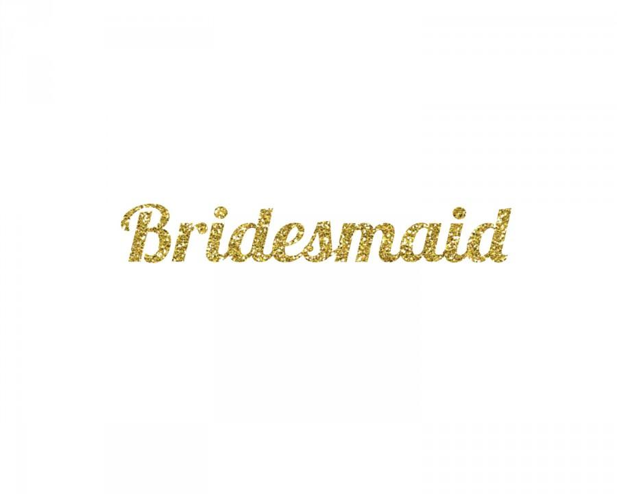 Hochzeit - DIY Bridesmaid Glitter Iron-On Vinyl Decal - Glitter Decal - 5 Colors - Bridesmaid Shirt - DIY Bridal Party Gift - Bachelorette Party