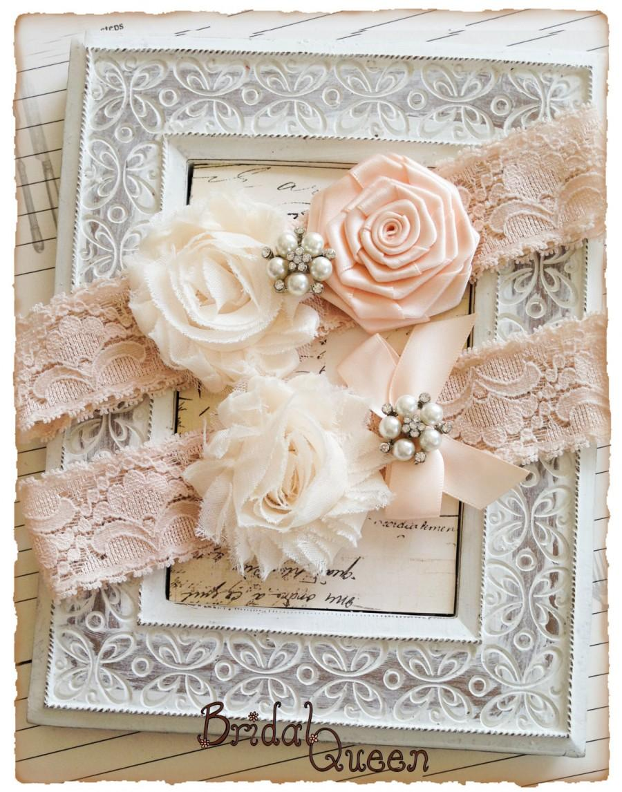 Wedding - Blush Lace Wedding Garter Set, Cream Bridal Garter Set, Lace Garters, Vintage Garters - Blush Lace, Cream and Nude Flower Garter