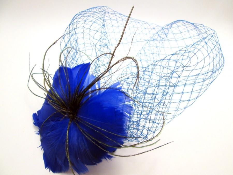 Свадьба - Vintage Inspired Cobalt Feather Flower with Blue Birdcage Veil Blusher Fascinator - Doctor Who Wedding - Tardis Netting - Steampunk bridal