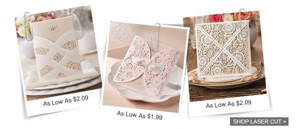 Wedding - Bohemian Rustic Spring Flower Glittery Gold Laser Cut Invitations EWWS085 As Low As $2.29