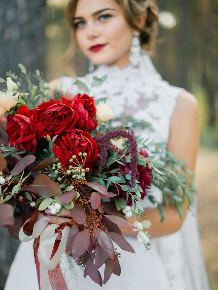 Enchanted Forest Marsala Wedding Inspiration & High Neck Wedding ...