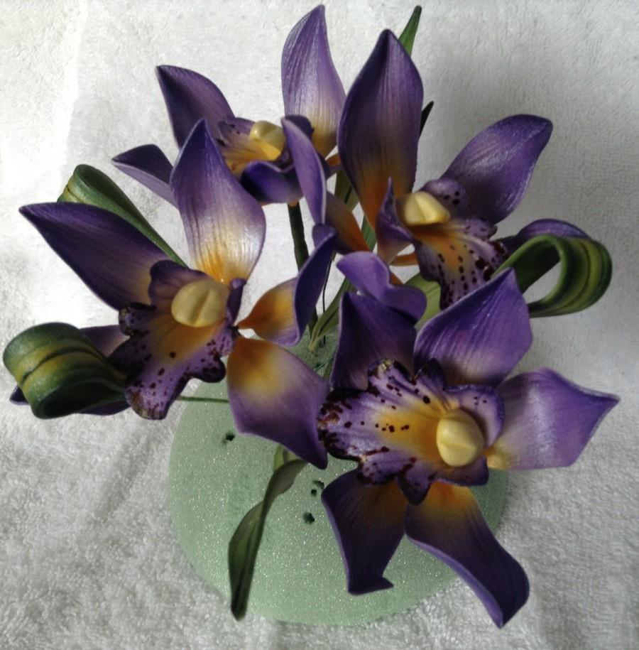 Düğün - Gumpaste Cymbidium Orchid Cake Decoration Lavender Gum Paste