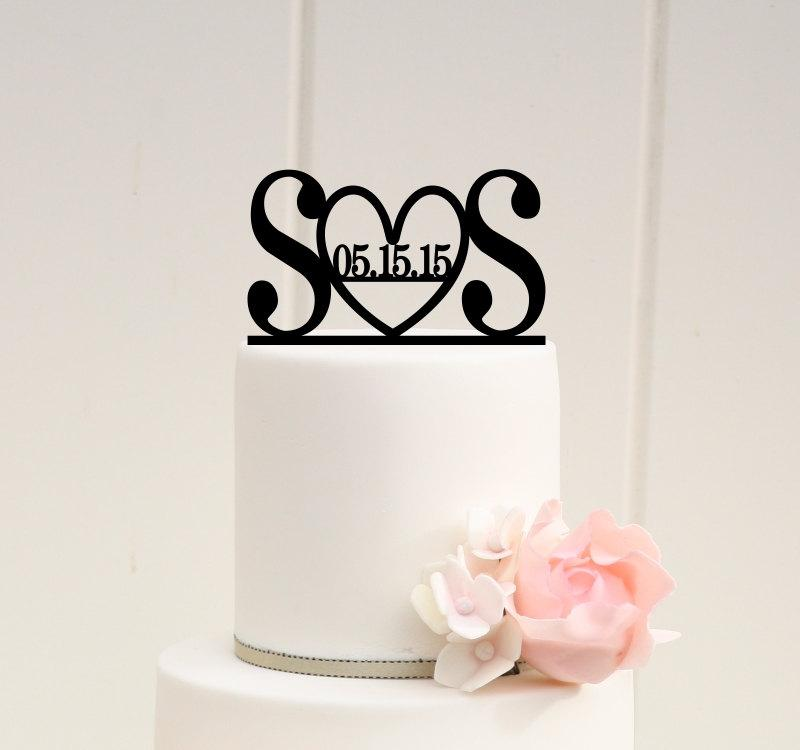 Wedding - Custom Wedding Cake Topper Initials and Heart with Wedding Date