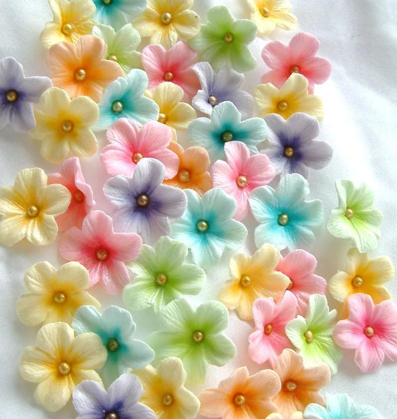 Mariage - Gum Paste Blossoms Pastel Colors 30 piece set Easter