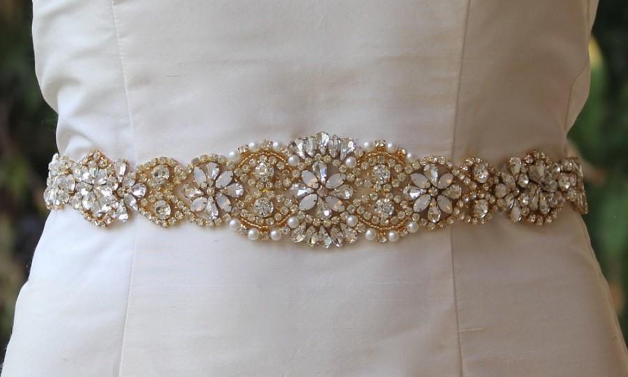 Gold bridal sash white opal gold sash milk opal crystal for Gold belt for wedding dress