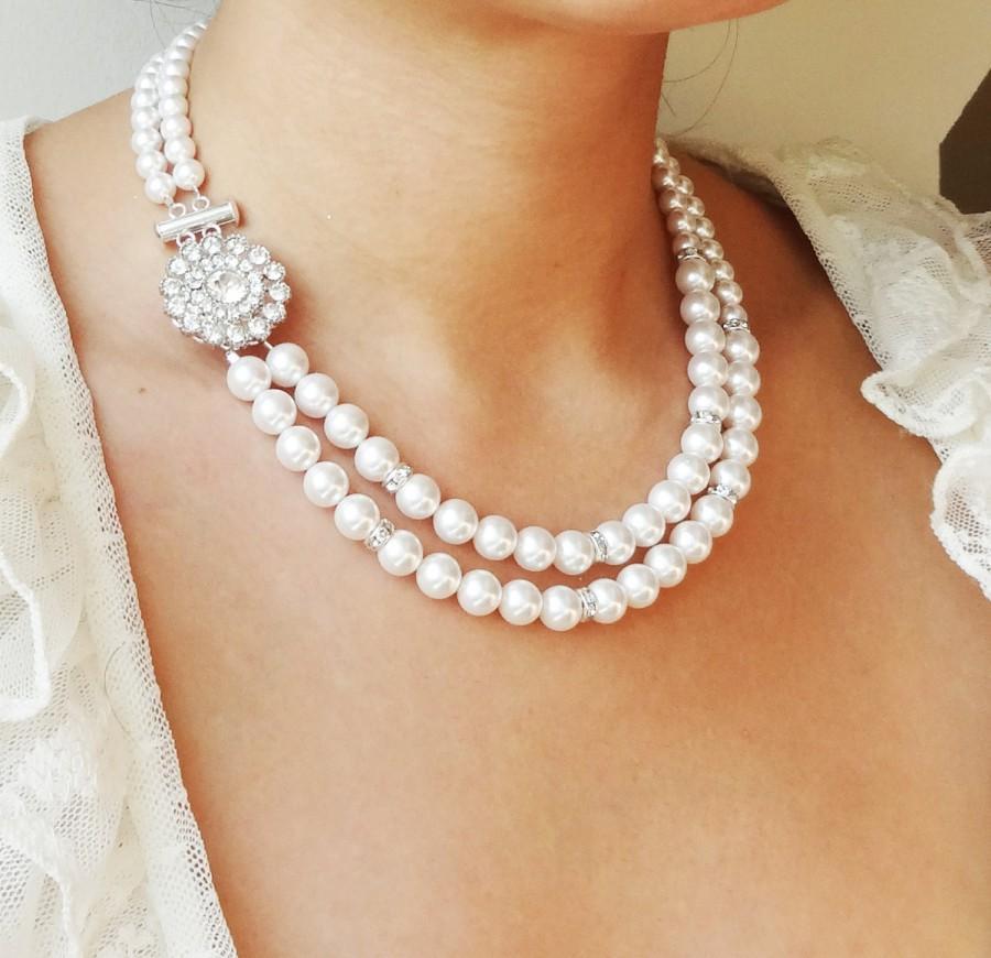 Mariage - Pearl Bridal Necklace, Vintage Wedding Necklace, Art Deco Bridal Jewelry, Swarovski Crystal Pearl Necklace, Great Gatsby, Victoria