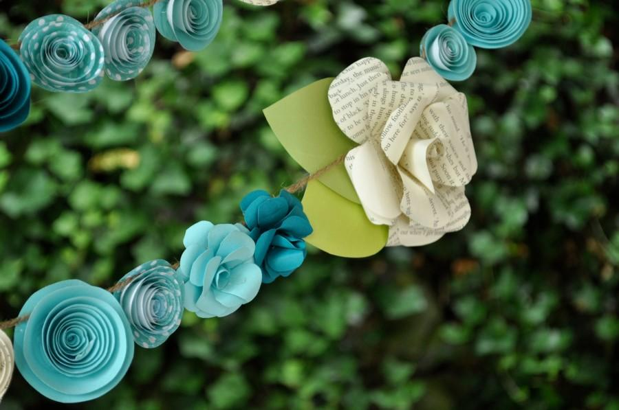 Mariage - Wedding Garland Paper Flower  garland Teal and white flowers 9 feet