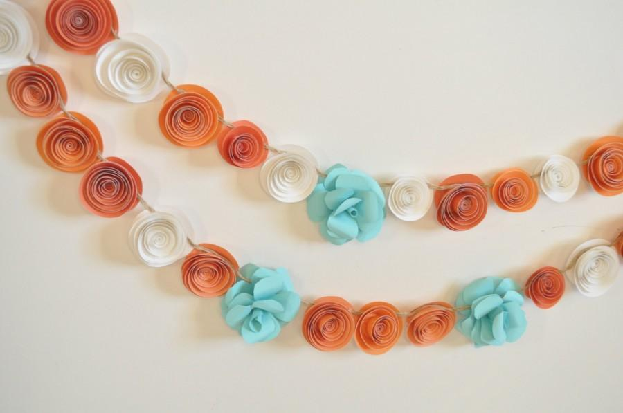 Mariage - Garland Paper Flowers Orange, Teal White Garland Wedding Garland 5.5 Feet