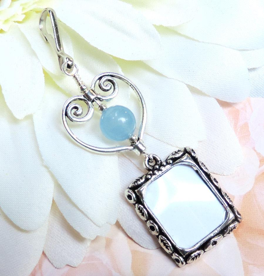 Mariage - Wedding bouquet photo charm. Something blue. 2 sided frame with blue stone, heart & printing service. Bridal shower gift.
