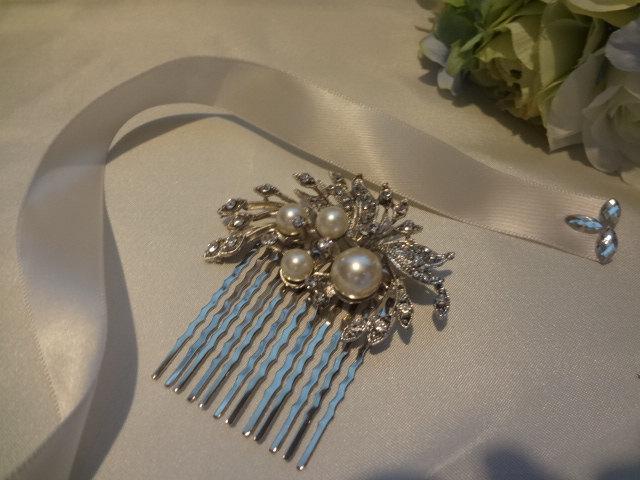 زفاف - Bridal Hair Comb,Rhinestone Brooch,Ivory Pearls Hair Comb, Wedding Hair Comb, Pearl Hair Comb, Statement Hair Comb, H011