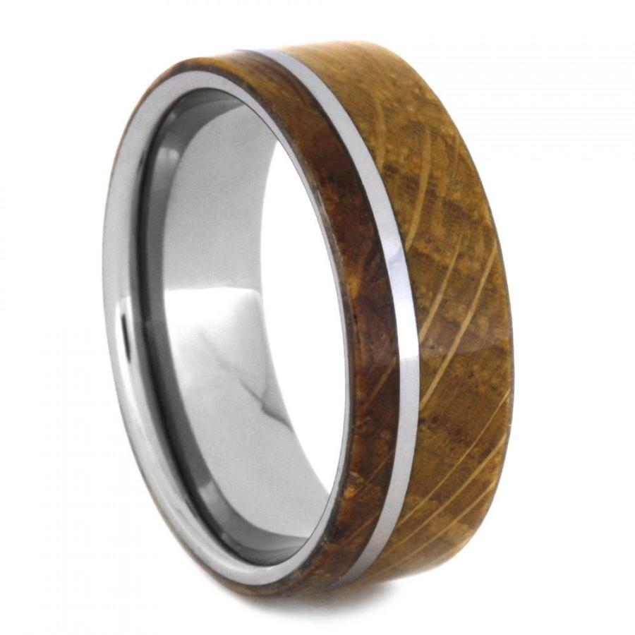 Mariage - Whiskey Barrel Ring, Mens Tungsten Wedding Band With Oak Wood Ring