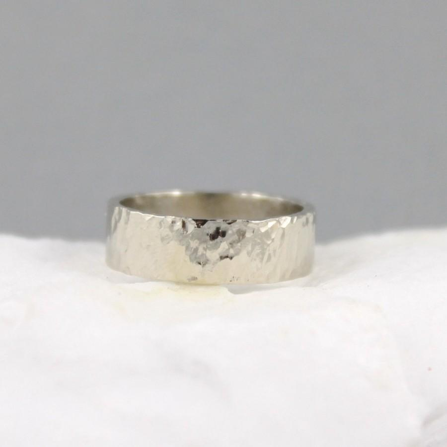 Hammered Texture 6mm 14K White Gold Wedding Band Unisex Mens