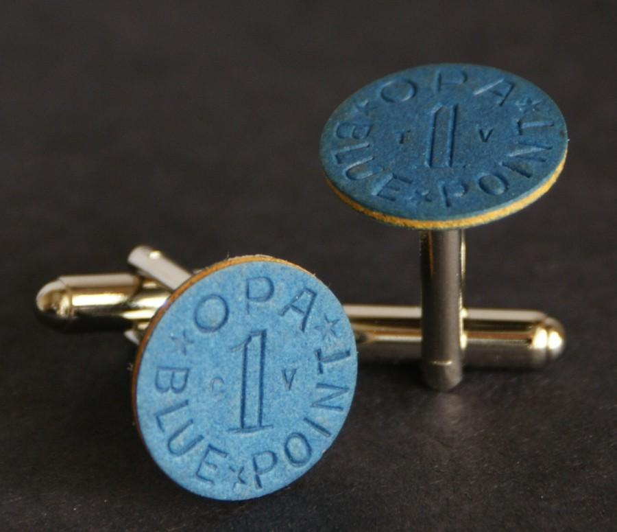 زفاف - Blue OPA Ration Token Cufflinks Used During WWII Free Gift Bag Unique Wedding