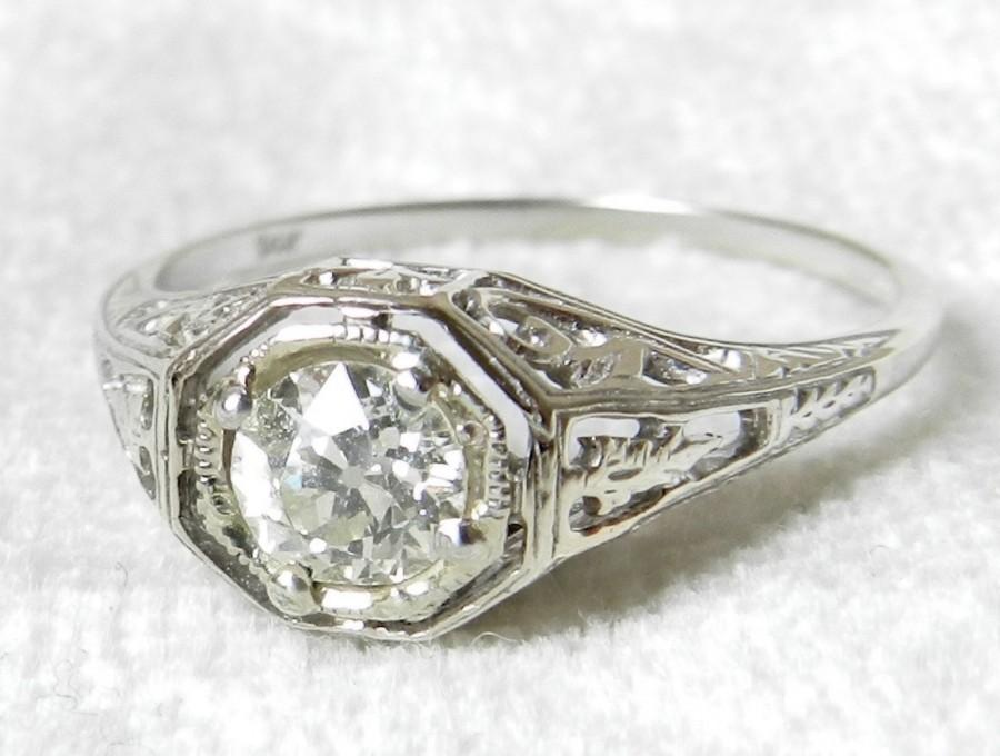deco engagement ring deco style ring edwardian style 0 52 half carat 1920 s