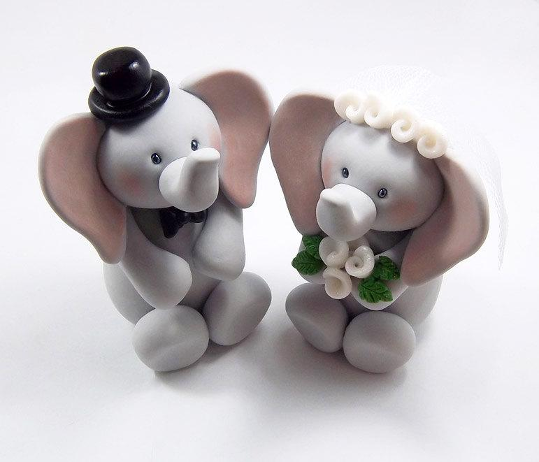 Mariage - Elephant Cake Topper, Wedding Cake Topper, Bride and Groom, Wedding Decoration