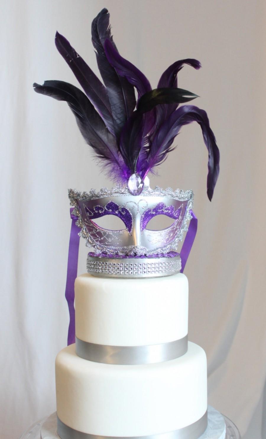 Свадьба - Masquerade Purple and Silver cake topper