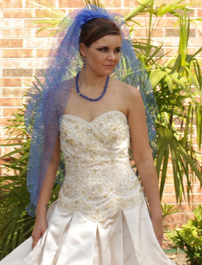 Wedding - Unsullied Blue Veil - Wedding Veil - Bridal Veils And Headpieces - Blusher Veil - Bride Hair Accessories - Bride Veil - Unique Veil