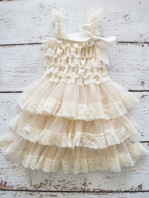 Свадьба - Coutry Lace Dres Flower Girl Chritening
