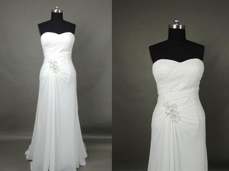 Inexpensive simple sweetheart white chiffon beach wedding for White dress for wedding reception