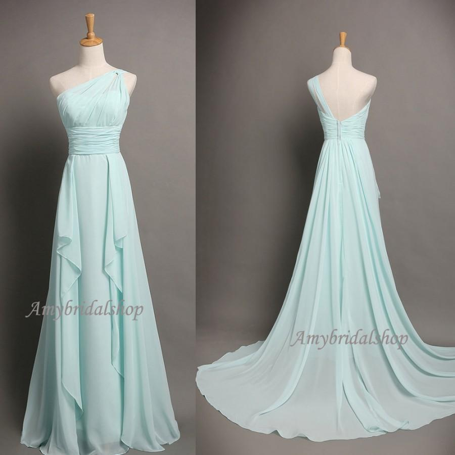 Affordable One Shoulder Light Blue Bridesmaid Dresses Wedding Party Dress Chiffon Long Bridal