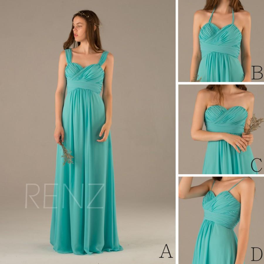 2016 Turquoise Bridesmaid Dress, Convertible Double Straps Wedding ...