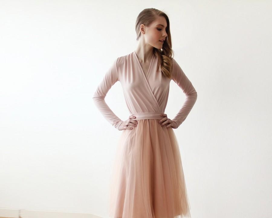 5706ab04ec Blush tulle midi dress with long sleeves , Pink blush bridesmaids midi  tulle dress