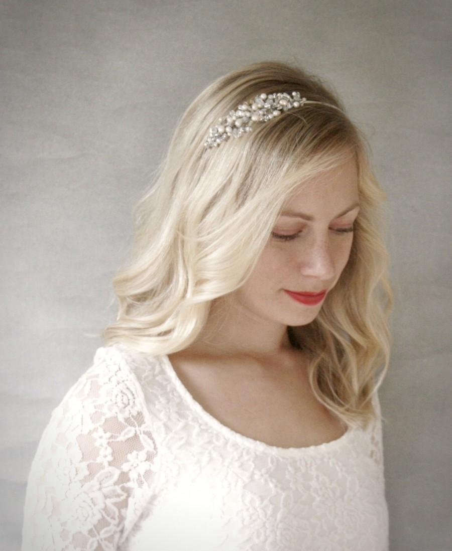 Wedding - Silver Crystal and Pearl Cluster Bridal Headband. Silver Wedding Hair Accessory.