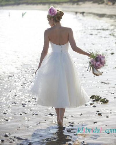 Mariage - H1635 Lovely polka dot tea length simple wedding dress