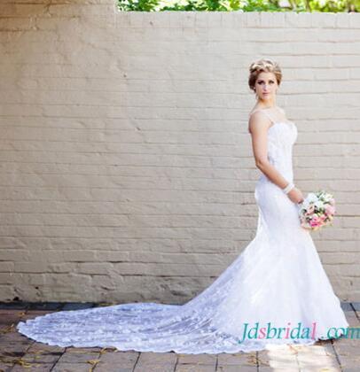 Wedding - H1634 Beautiful illusion lace mermaid wedding dress with straps