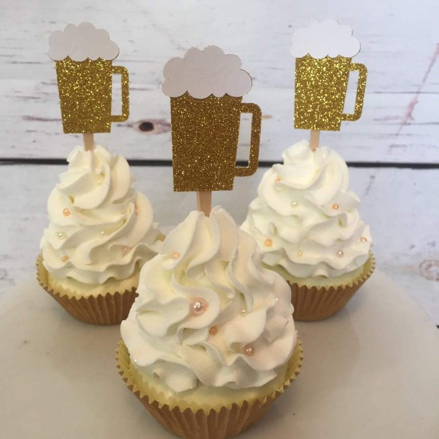 24 Beer Mug Cupcake Topper 21st Birthday 30th Birthday Cheers To