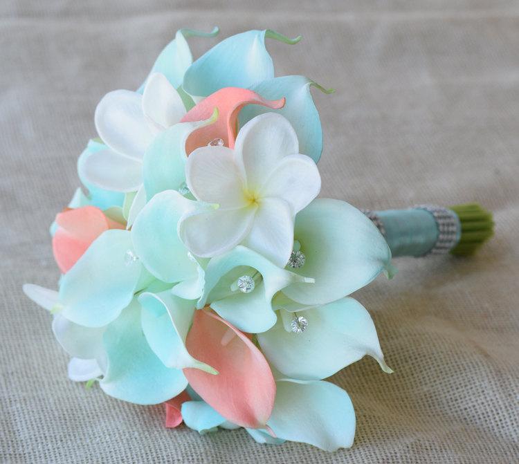 Hochzeit - Mint Silk Flower Wedding Bouquet - Robbin's Egg and Coral Peach Calla Lilies Off White Plumeria Natural Touch Crystals Silk Bridal Bouquet