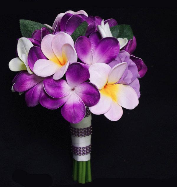 Hochzeit - Purple Silk Flower Natural Touch Plumerias and Roses Beach Wedding Bride Bouquet