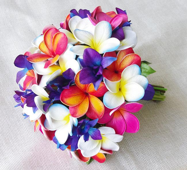 Hochzeit - Wedding Silk Tropical Plumeria Bouquet - Fuchsia, Orange and Purple Natural Touch Orchids and Plumerias Silk Bridal Bouquet