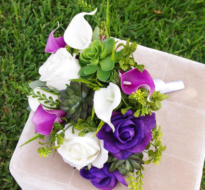 Mariage - Wedding Succulents and Roses Bouquet -Purple Roses and Callas Natural Touch Silk Flower Bride Bouquet