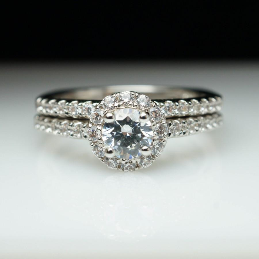 Round Halo Diamond Engagement Ring Wedding Band Complete Set Halo