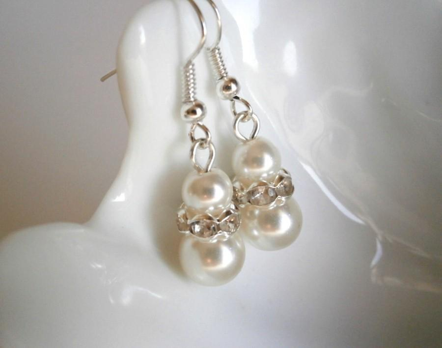Bridesmaid Jewelry Gift Earrings Ivory White Pearl Bridal Wedding Party