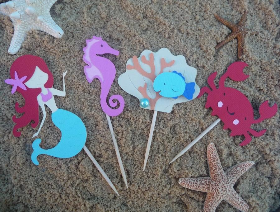 Hochzeit - Mermaid Cupcake Toppers Set of 8 Under the Sea Theme Birthday Party Decorations - Mermaid Baby Shower - Sea Creatures - Pool Beach Party