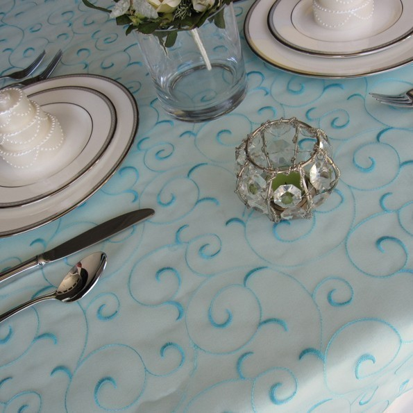 Hochzeit - Light Turquoise Pool Blue Swirl Embroidered Organza Table Overlay