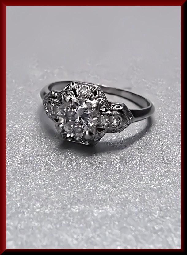 Wedding - Antique Vintage Art Deco Platinum 1920's European Cut Diamond Engagement Wedding Ring