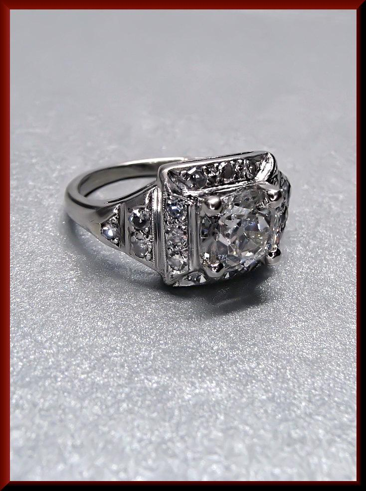 Wedding - Antique Vintage 14K White Gold Art Deco 1920's Old Mine Cut Diamond Engagement Wedding Ring