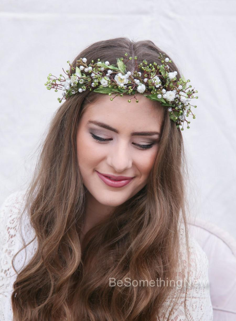 Rustic Flower Crown Of Green Beads Leaves And Beaded Flowers Boho Wedding Floral Halo Wreath Hair Wreaths Bridal Woodland