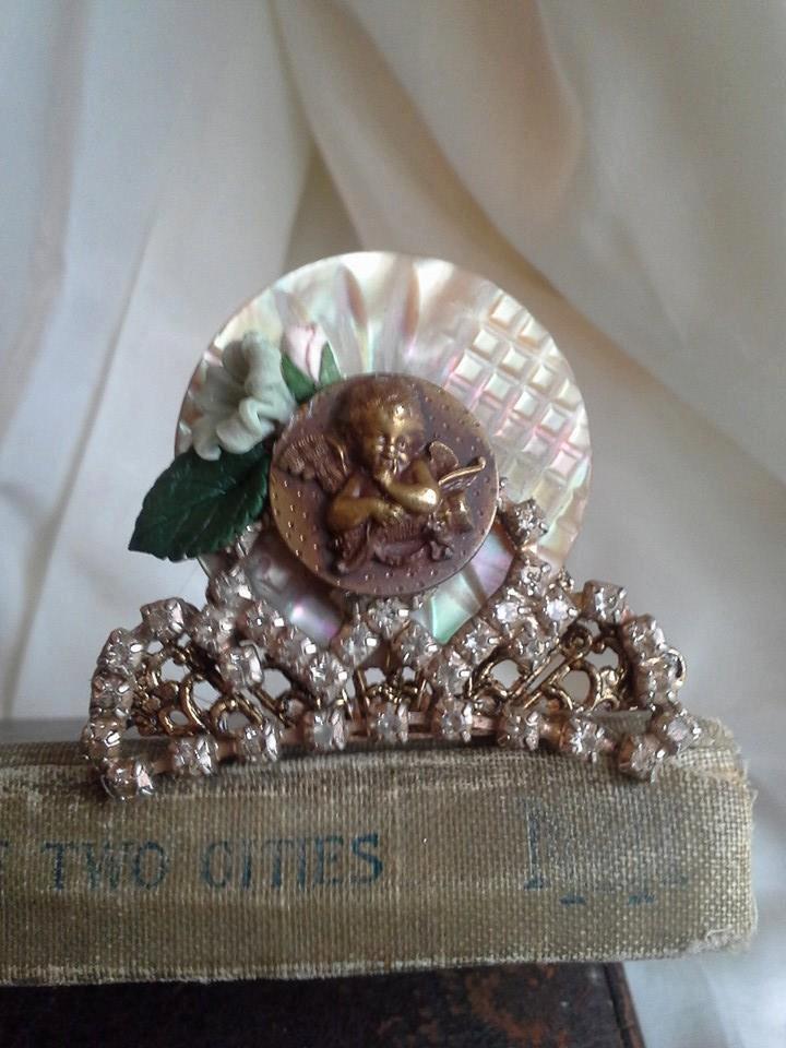 Свадьба - Tiny Tiara with Cupid Angel, Flowers, Rhinestones, Vintage Abalone Button, Shabby, Cottage, Romantic, Queen, Crown, Wedding, Princess, Bride