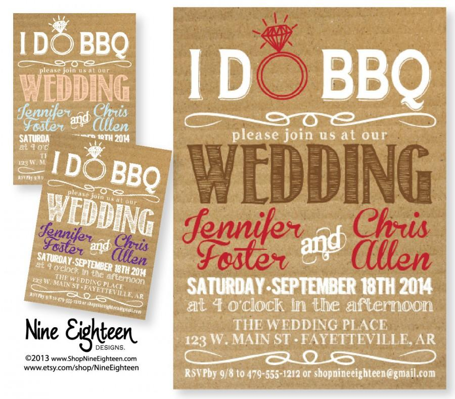 Mariage - iDo BBQ Wedding Invitation. Kraft/Cardboard look. Printable PDF/JPG invitation. I design, you print.