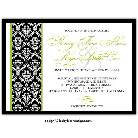 زفاف - 10 Invites - Wedding or Bridal Shower Invitation  //customize with your colors// - Traditional Damask design