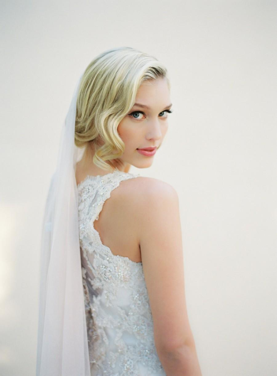 Mariage - Wedding Veil, Soft Drape Veil, English Net Fabric, Crystal Comb, Beaded Veil, Single Tier Veil, Bridal Veil, Champagne Veil, 1518